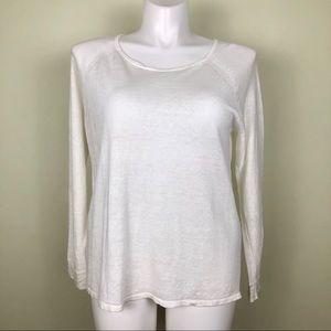 Ann Taylor White Linen Long Sleeved Top XL